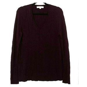 LOFT Wool Blend V-neck Cableknit Sweater